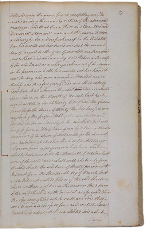 Land deeds of Rev. Foster August 2, 1790 Page 67. Choose 'View Text' (at top) for faster download.