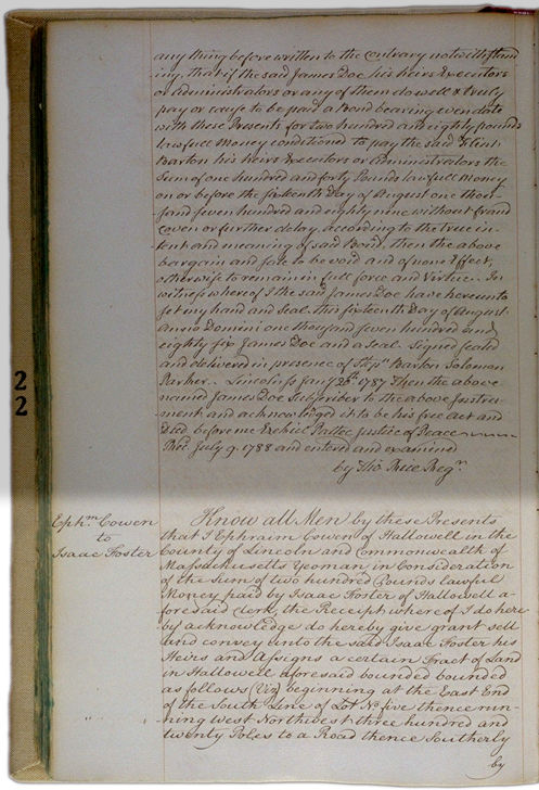 Land deeds of Rev. Foster October 15, 1788 Page 139 (back). Choose 'View Text' (at top) for faster download.