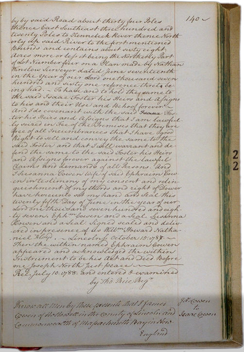 Land deeds of Rev. Foster October 15, 1788 Page 140. Choose 'View Text' (at top) for faster download.