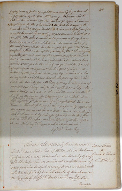 Land deeds of Rev. Foster August 2, 1790 Page 66. Choose 'View Text' (at top) for faster download.