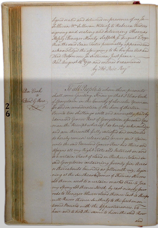 Land deeds of Rev. Foster August 2, 1790 Page 67 (back). Choose 'View Text' (at top) for faster download.
