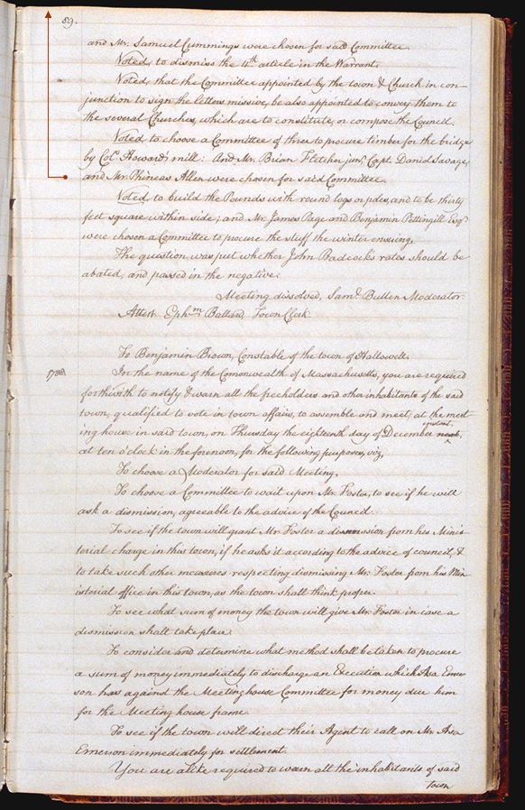 Hallowell Town Records (Transcription by John Sewall) folio 89 (October 30, 1788 meeting). Choose 'View Text' (at top) for faster download.
