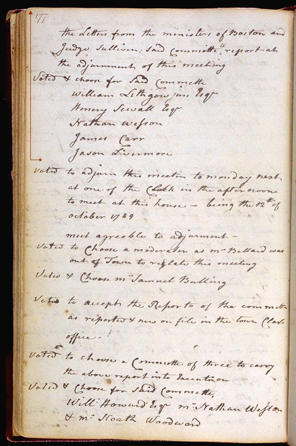 Hallowell Town Records (Original) folio 177 (October 12, 1789 meeting). Choose 'View Text' (at top) for faster download.