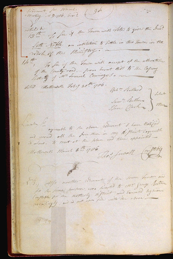 Hallowell Town Records (Original) folio 94 (March 6, 1786 meeting). Choose 'View Text' (at top) for faster download.