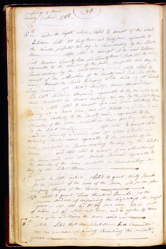 Hallowell Town Records (Original) folio 98 (March 6, 1786 meeting). Choose 'View Text' (at top) for faster download.