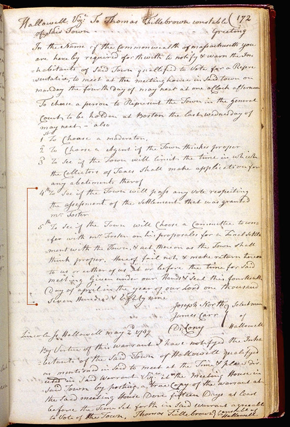 Hallowell Town Records (Original) folio 172 (May 4, 1789 meeting). Choose 'View Text' (at top) for faster download.