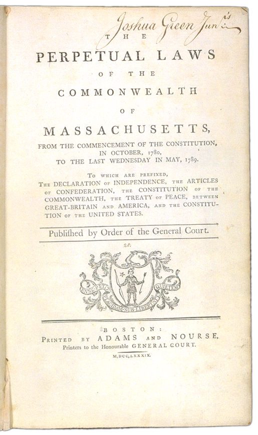 The Perpetual Laws of the Commonwealth of Massachusetts Title page. Choose 'View Text' (at top) for faster download.