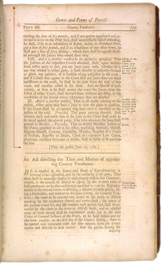 The Perpetual Laws of the Commonwealth of Massachusetts Page 119. Choose 'View Text' (at top) for faster download.