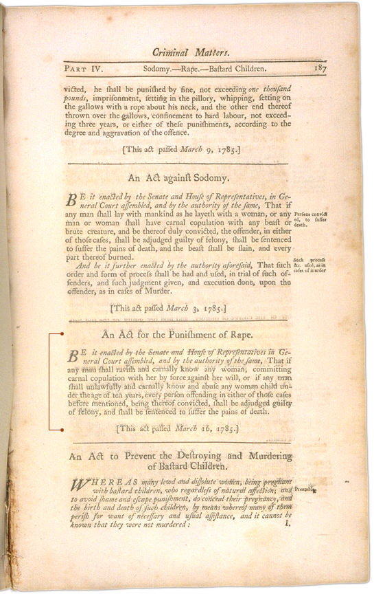 The Perpetual Laws of the Commonwealth of Massachusetts Page 187. Choose 'View Text' (at top) for faster download.