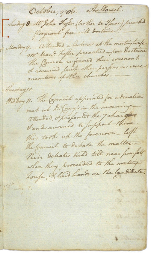 Henry Sewall's Diary October 8 through October 11, 1786. Choose 'View Text' (at top) for faster download.