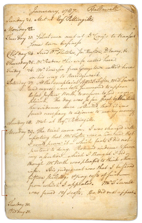 Henry Sewall's Diary January 21 through January 31, 1787. Choose 'View Text' (at top) for faster download.
