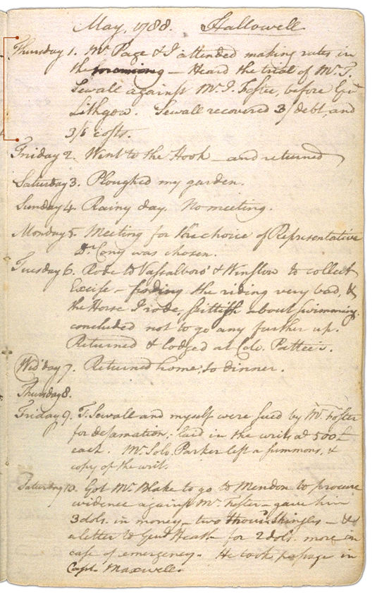 Henry Sewall's Diary May 1 through May 10, 1788. Choose 'View Text' (at top) for faster download.