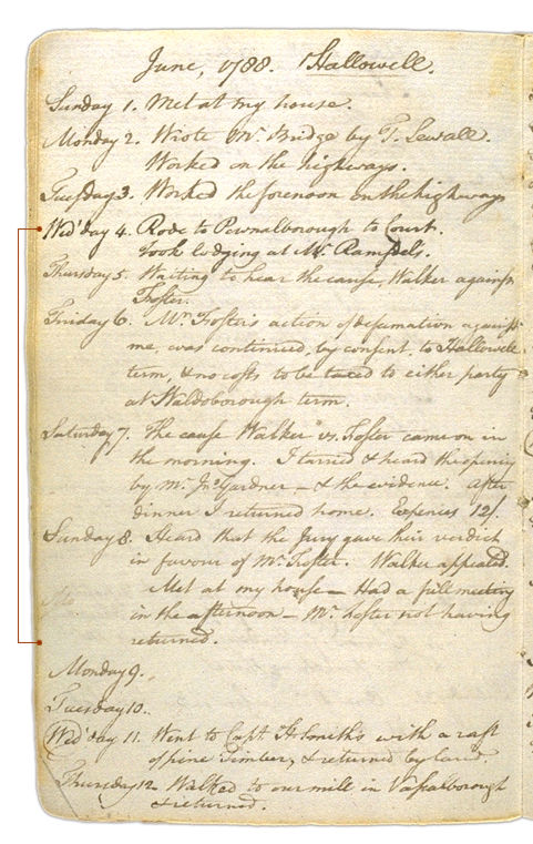 Henry Sewall's Diary June 1 through June 12, 1788. Choose 'View Text' (at top) for faster download.
