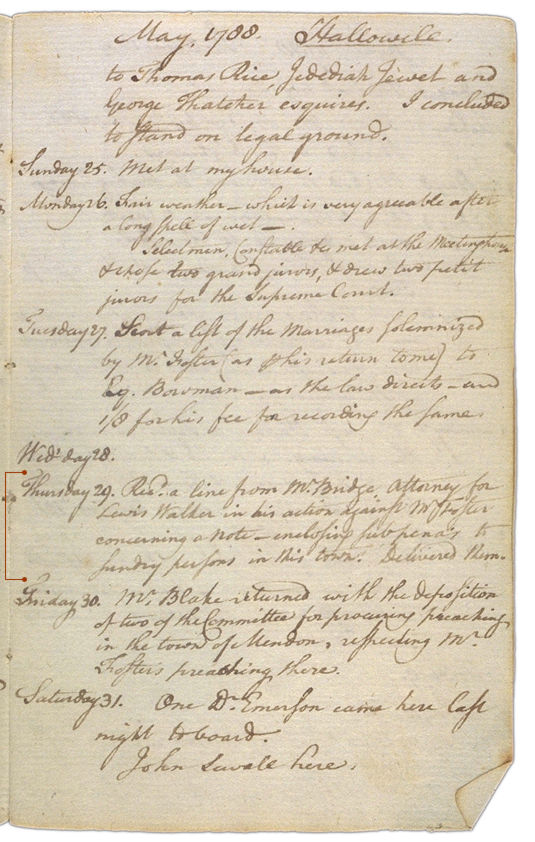 Henry Sewall's Diary May 24 through May 31, 1788. Choose 'View Text' (at top) for faster download.