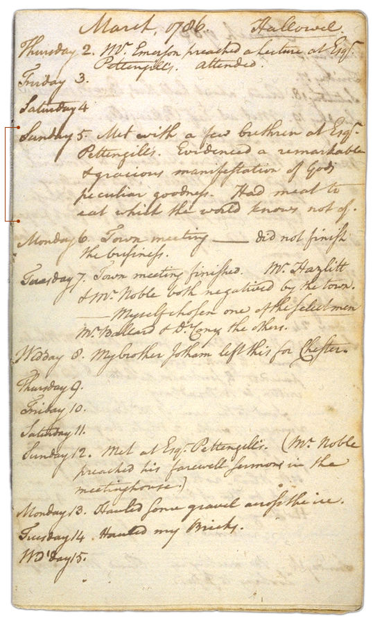 Henry Sewall's Diary March 2 through March 15, 1786. Choose 'View Text' (at top) for faster download.