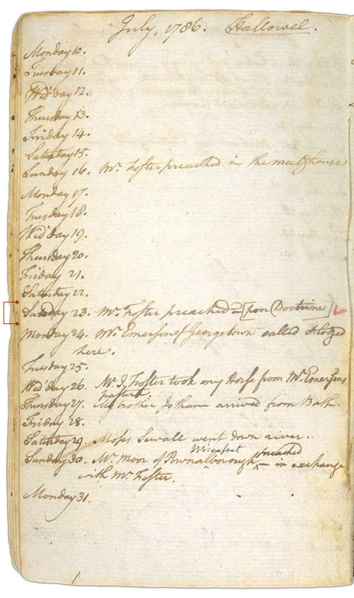 Henry Sewall's Diary July 10 through July 31, 1786. Choose 'View Text' (at top) for faster download.