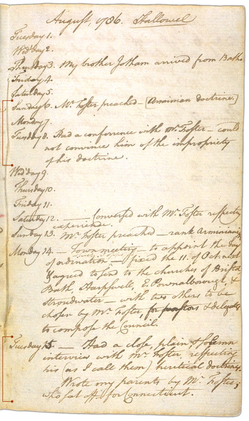 Henry Sewall's Diary August 1 through August 15, 1786. Choose 'View Text' (at top) for faster download.