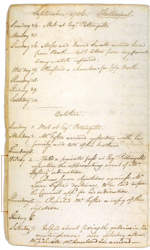 Henry Sewall's Diary September 24 through October 7, 1786. Choose 'View Text' (at top) for faster download.
