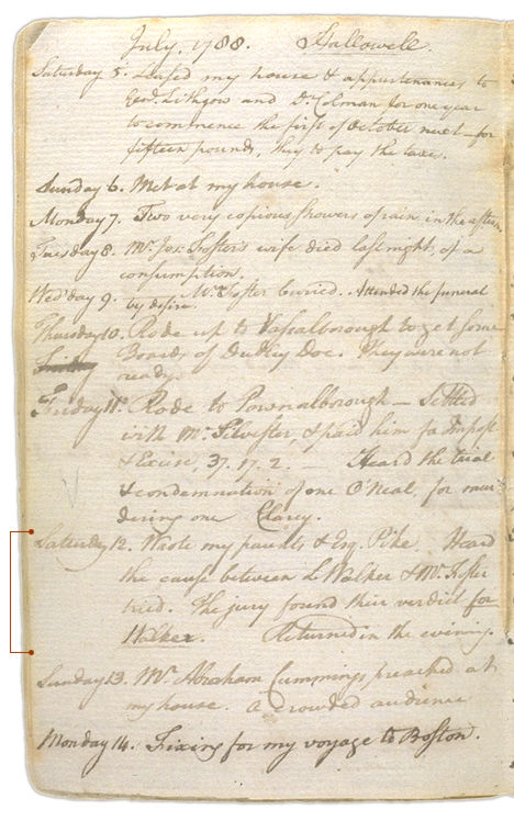 Henry Sewall's Diary July 5 through July 14, 1788. Choose 'View Text' (at top) for faster download.